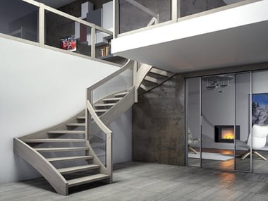Wooden Open staircase with lateral stringers ESPERIA VITRA