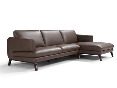 Divano in pelle a 4 posti con chaise longue ESPRIT | Divano con chaise longue