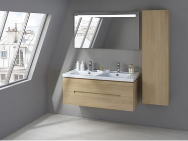 Wall-mounted oak vanity unit with drawers ESSENTIEL