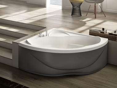 Vasca da bagno a 2 posti angolare con seduta ETHOS 140