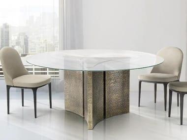 Tavolo da pranzo rotondo in cristallo ETOILE | Tavolo in cristallo