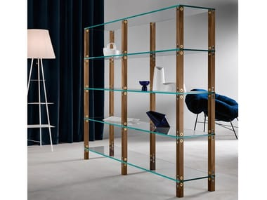 Open modular wood and glass bookcase EUCLIDE | Modular bookcase