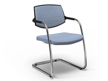 Cantilever fabric reception chair with armrests EURA VISITOR