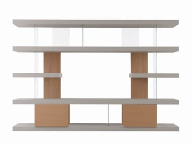 Open wood and glass bookcase with TV stand EX LINE