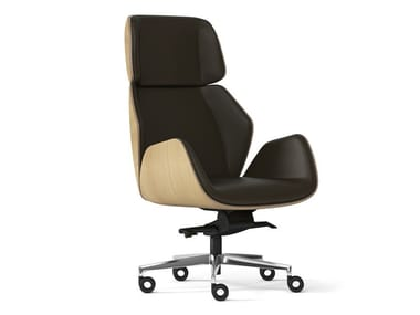Executive chair with 5-spoke base with armrests HAIKU WOOD | Executive chair