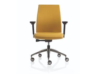 Sedia ufficio in pelle con braccioli con ruote SMARTOFFICE | Sedia ufficio