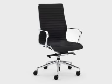 Trestle-based fabric executive chair with castors OMEGA | Executive chair