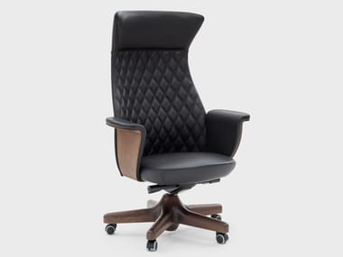 Leather executive chair with 5-spoke base with castors CHARME | Executive chair