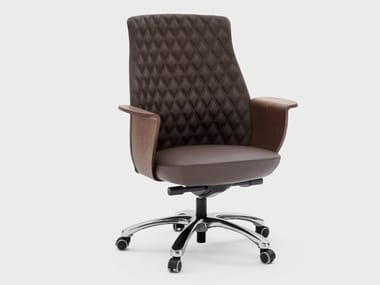 Medium back leather executive chair CHARME | Executive chair with castors