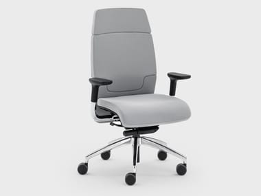 Medium back leather executive chair with castors MADAM OFFICE | Executive chair with armrests