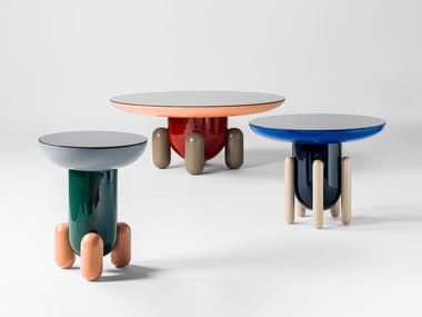 Round glass-fibre coffee table EXPLORER