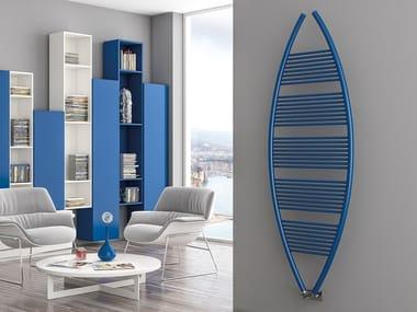 Vertical wall-mounted metal towel warmer EYE