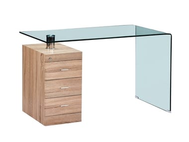 Rectangular wood and glass writing desk with drawers F-306-650 | Writing desk