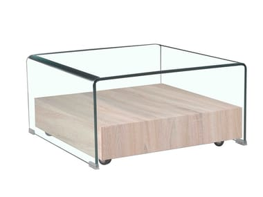 Square wood and glass coffee table F-GW505 | Coffee table