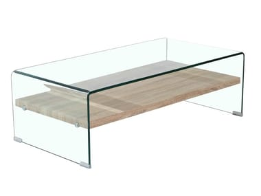 Rectangular wood and glass coffee table F-GW519 | Coffee table