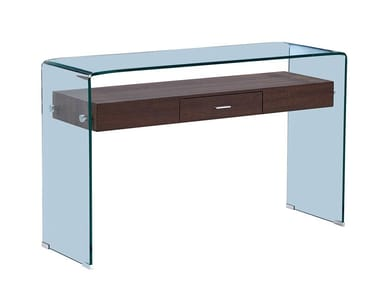 Rectangular wood and glass console table with drawers F-GW709 | Console table