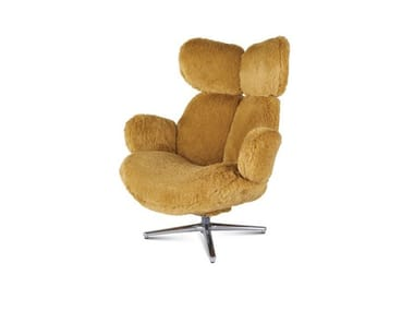 Swivel fabric armchair with 4-spoke base with armrests PULP   Fabric armchair