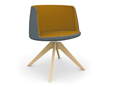 Trestle-based fabric chair with armrests RHODE ISLAND | Polyurethane chair