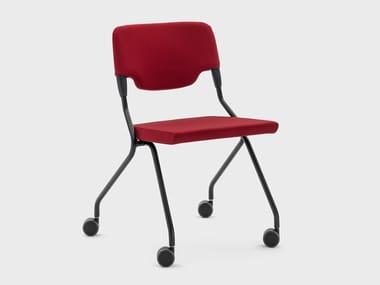 Sedia in tessuto con schienale aperto con ruote MADAM COLLETTIVITÀ | Sedia in tessuto