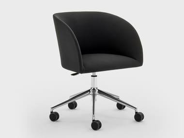 Height-adjustable fabric office chair with armrests with castors MILLY | Fabric office chair