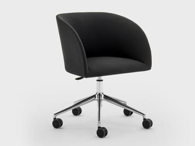 Cadeira operativa ajustável em altura de tecido com braços com rodízios MILLY | Cadeira operativa de tecido