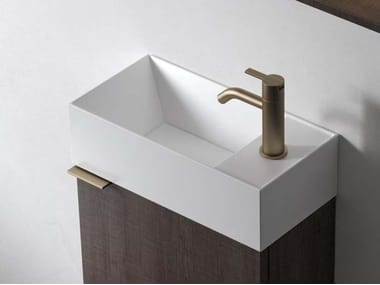 Countertop rectangular Solid Surface handrinse basin FACETT | Handrinse basin