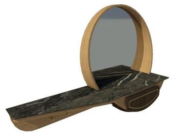 Hallway furniture in oak, walnut and brass inserts FAI | Entryway Wall Mirror M06
