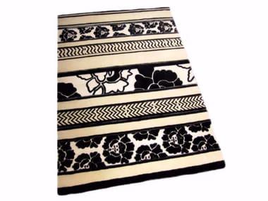 Patterned handmade rectangular rug FAR