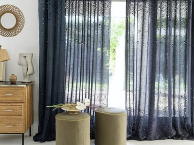 Embroidered linen fabric for curtains FARFALLE