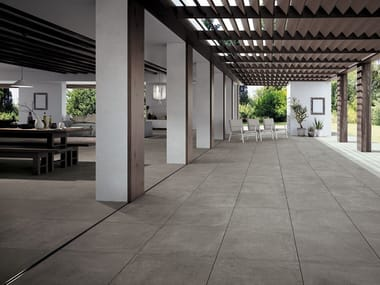 Indoor/outdoor porcelain stoneware flooring with concrete effect FAST