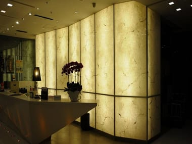 Translucent wall covering sheets with stone effect FAUX TRANSLUCENT STONE | Wall covering