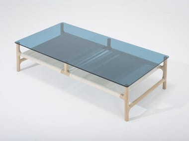 Low rectangular wood and glass coffee table FAWN | Rectangular coffee table
