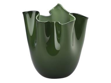 Handmade blown glass vase FAZZOLETTO OPALINO