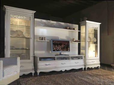 Raumteiler Wohnwand Aus Massivem Holz FENICE | Lackierte Wohnwand