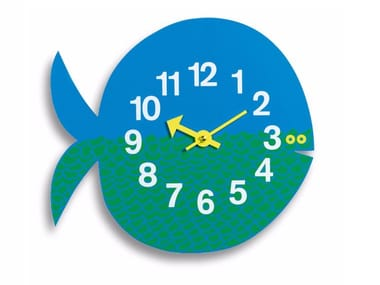 Wall-mounted plywood kids clock FERNANDO THE FISH