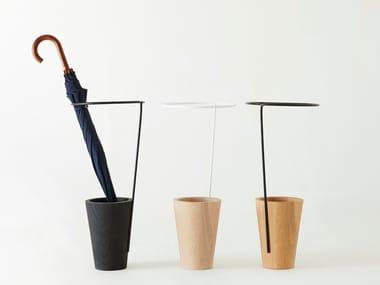 Floorstanding solid wood umbrella stand FIDDLEHEAD