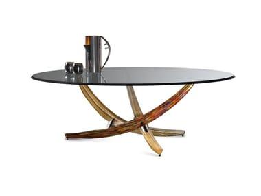 Tavolino rotondo in vetro FILI D'ERBA | Tavolino rotondo