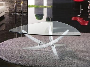 Tavolino triangolare in vetro FILI D'ERBA | Tavolino triangolare
