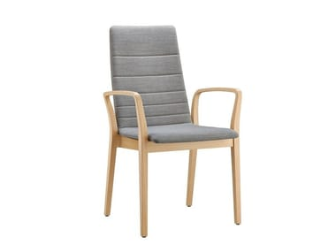 Fabric chair with armrests FINA WOOD | Fabric chair