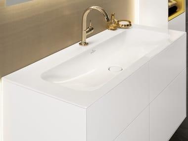 Inset rectangular TitanCeram washbasin FINION | Inset washbasin