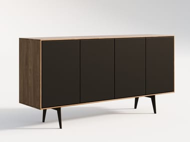 Wooden sideboard with leather doors FINN   Sideboard with doors