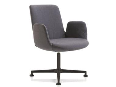 Sedia in tessuto a 4 razze con braccioli FIOR DI LOTO | Sedia con braccioli