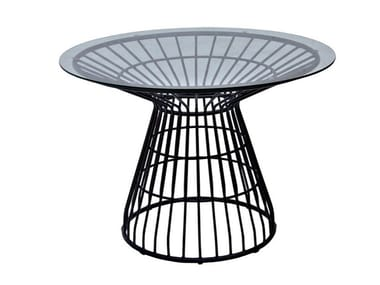 Round glass and aluminium garden table FIORELLA | Glass and aluminium table