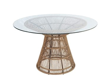 Round glass, aluminium and synthetic garden table FIORELLA | Table
