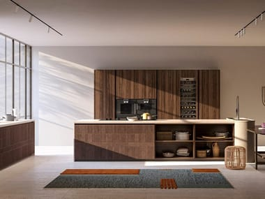 Wooden kitchen with push to open doors with island PINEA | Fitted kitchen