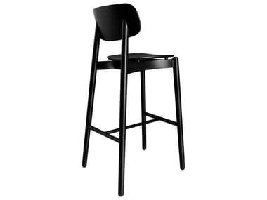 High wooden stool with back FIZZ | High stool