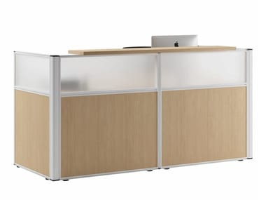 Modular wooden Reception desk and etched glass FJORD