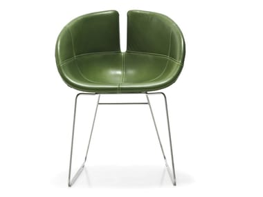 Sled base upholstered leather chair FJORD   Leather chair
