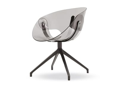 Swivel trestle-based polycarbonate chair FL@T POLYCARBONATE | Swivel chair