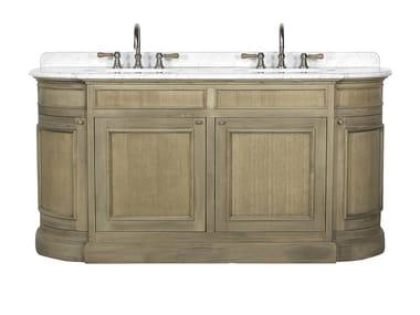 Double oak vanity unit with doors FLAMANT BUTLER | Double vanity unit